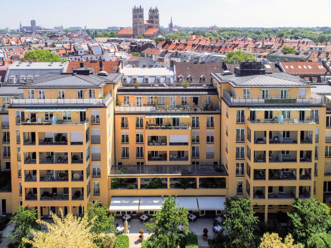 Luftaufnahme der Luxus Tertianum Premium Seniorenresidenz München