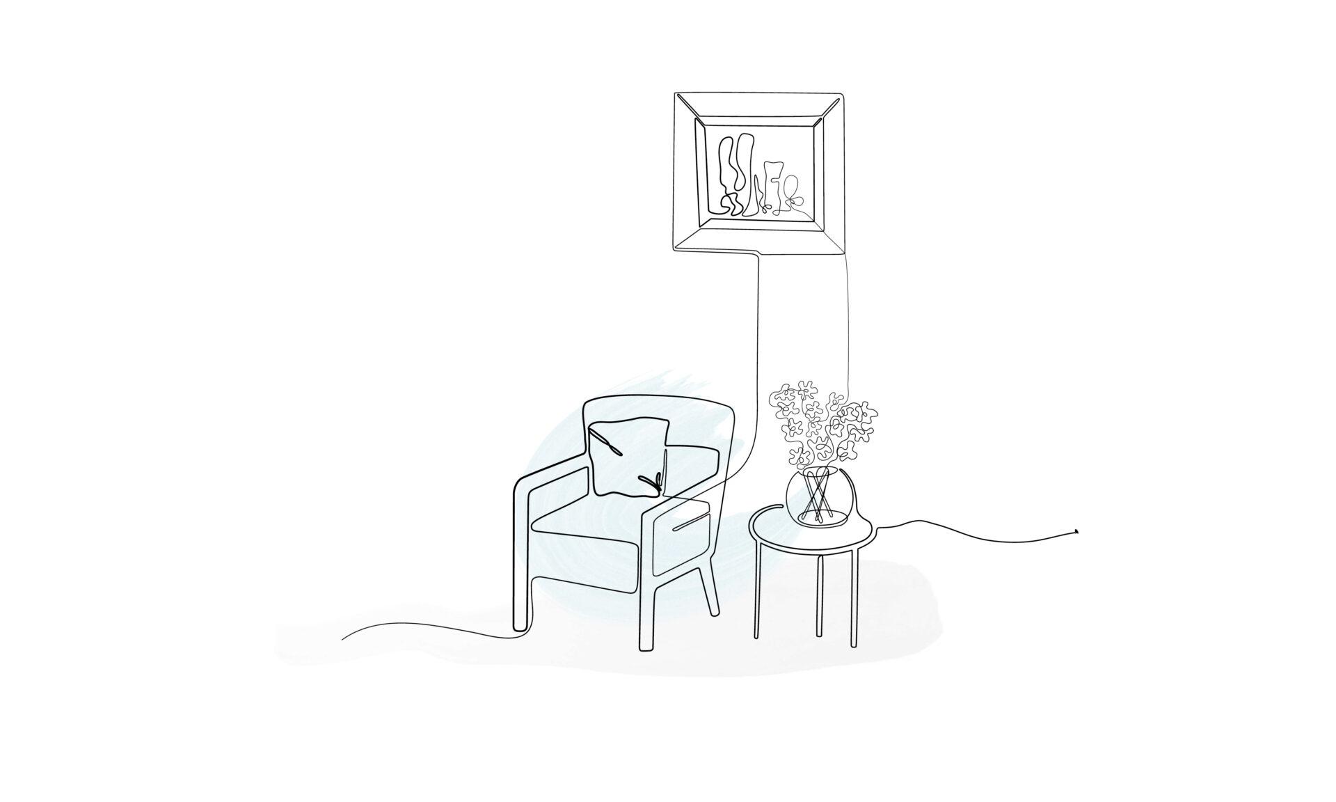 Illustration eines Sessels mit Beistelltisch und Blumen