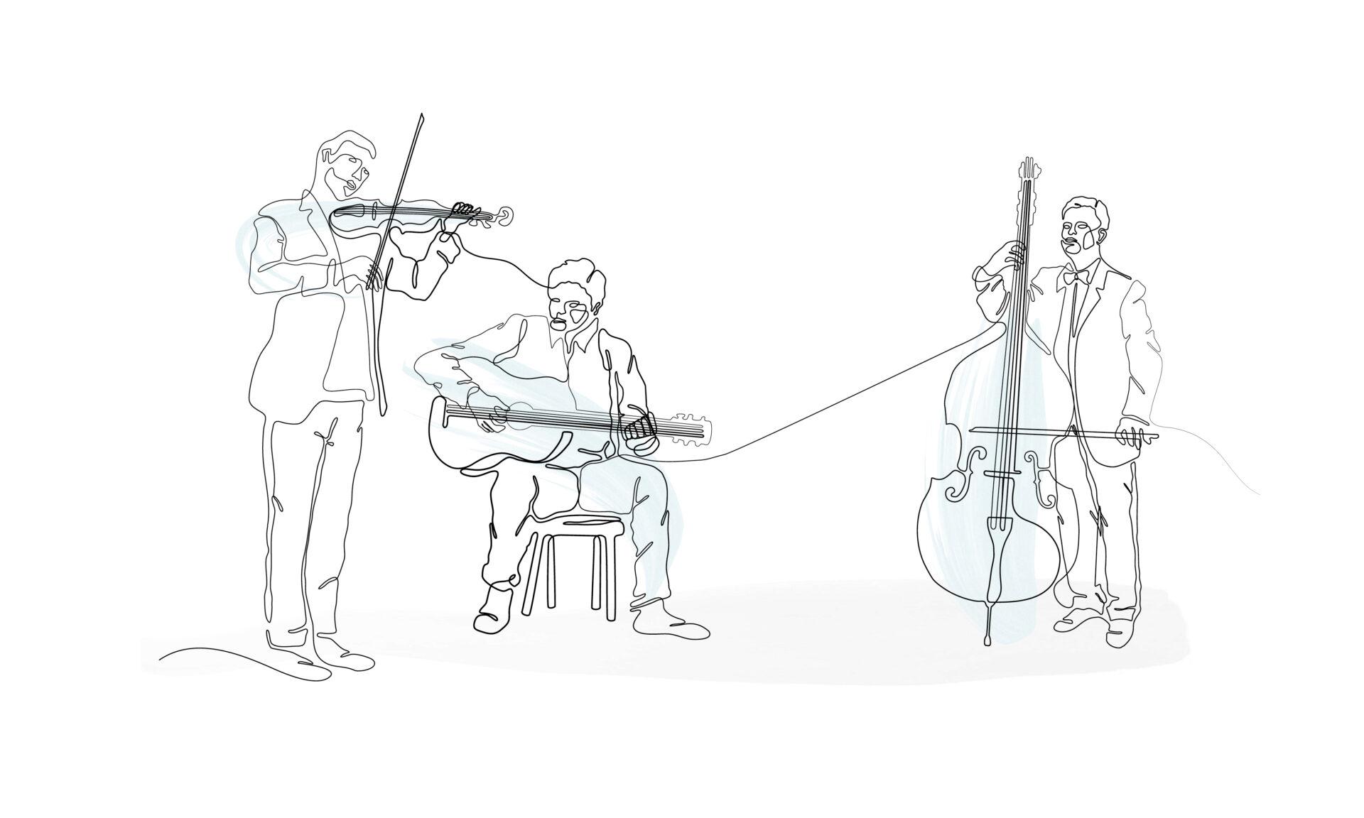 Illustration von drei Musikern beim musizieren