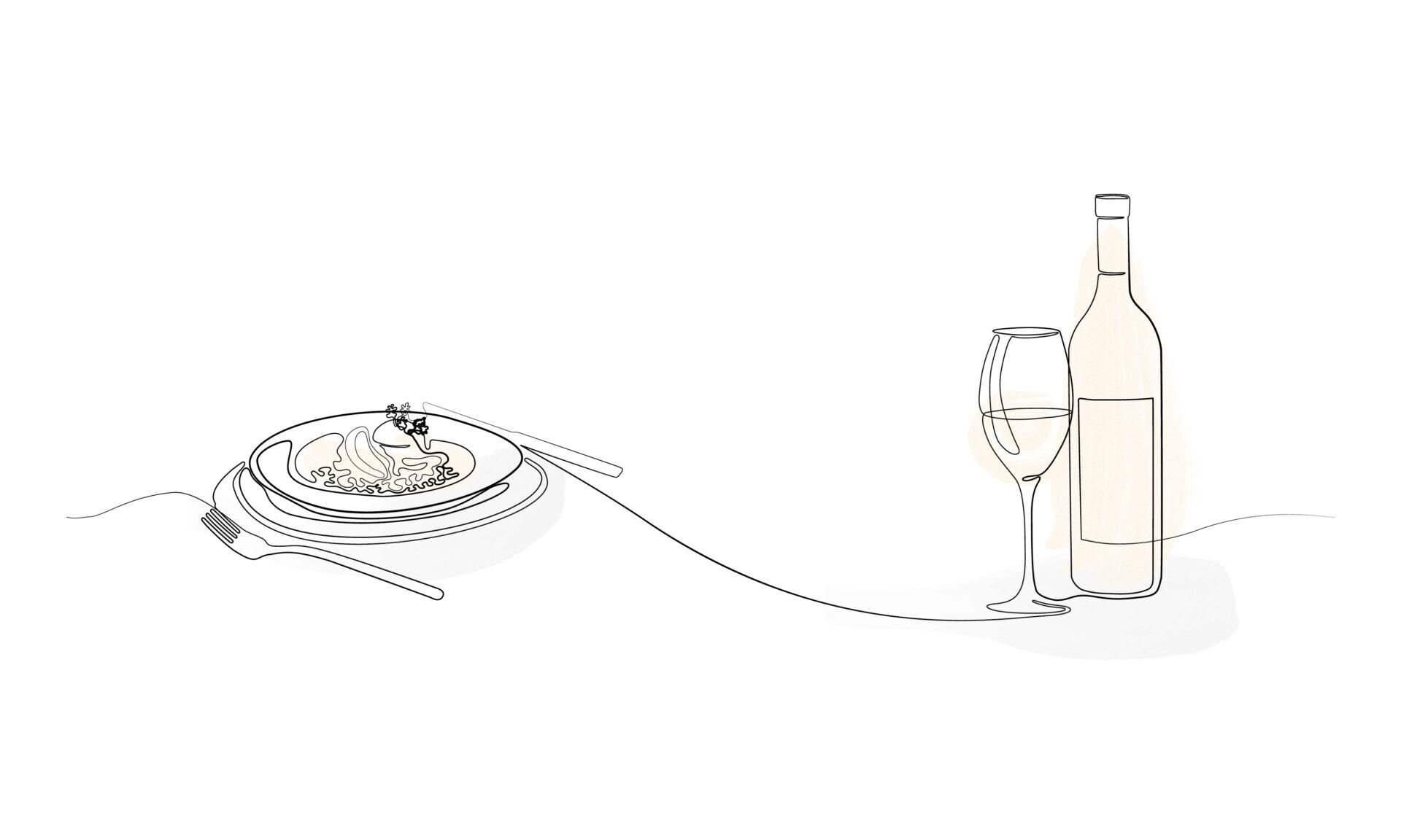 Illustration Gericht serviert mit Wein