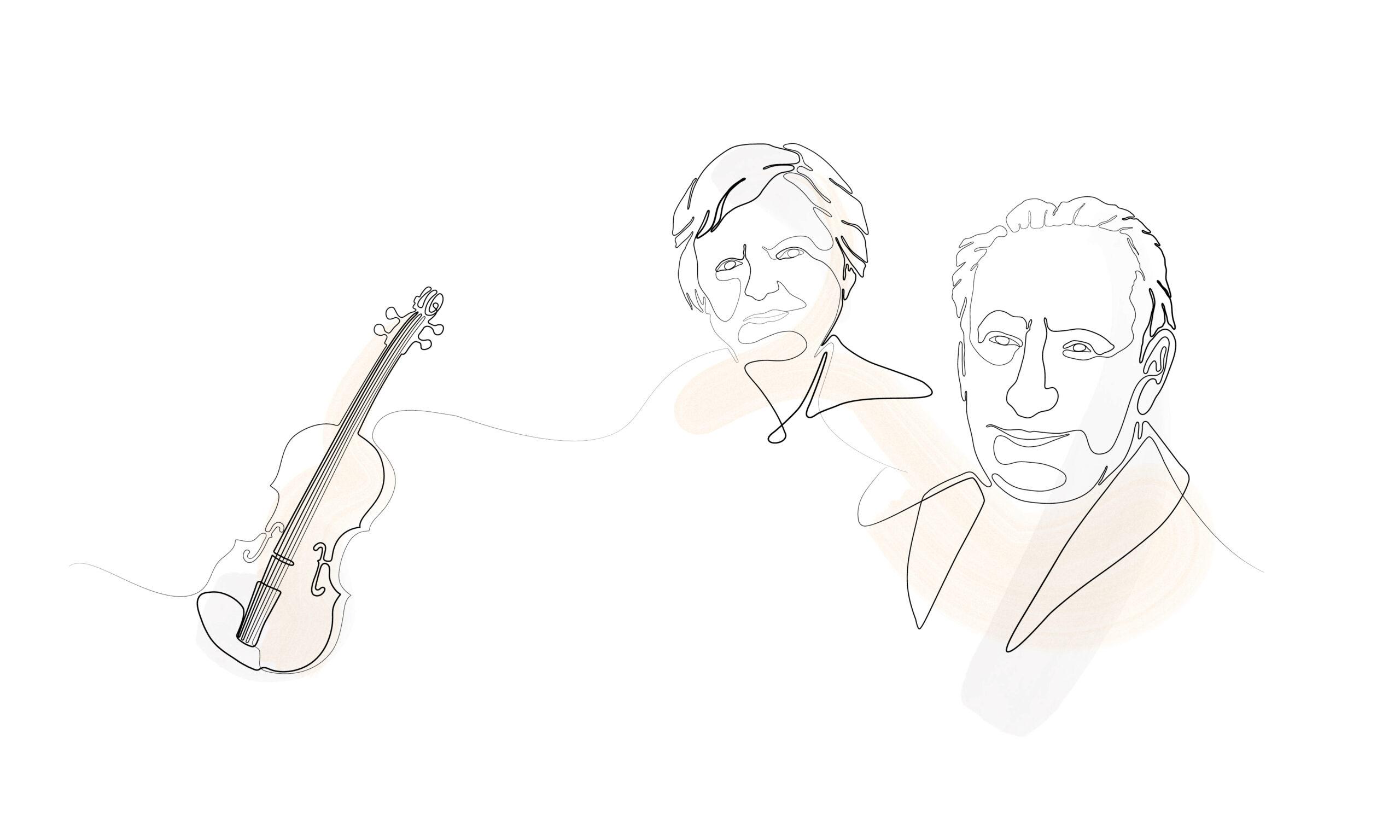 Illustration einer Geige und zwei Senioren